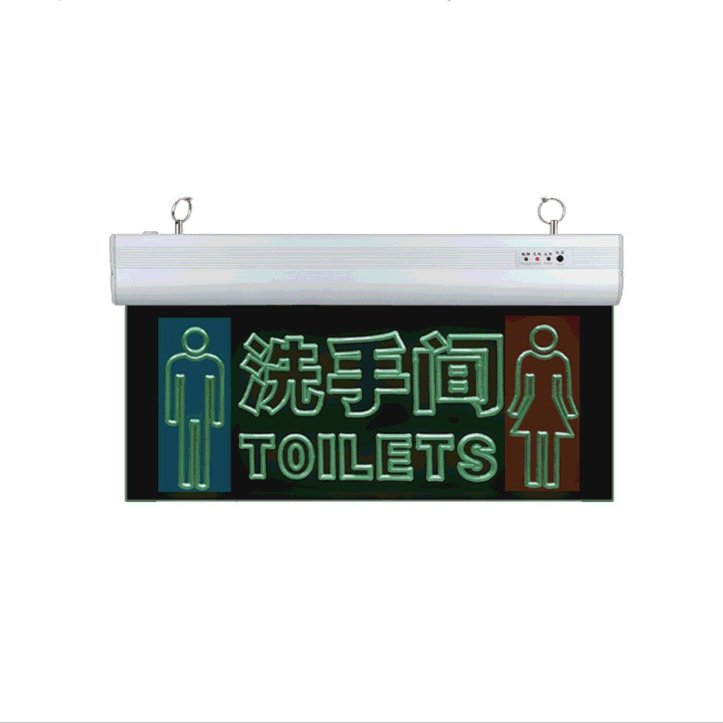 WC Door-Signs Toilets Safety Exit Indicator Light LED Transparent Acrylic Indicators Men & Women Toilet Labels Fire Emergency Light (Color : White-H)