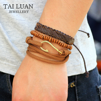 Fashion Accessories Mens Wooded Beads Leather Bracelets Bangles Sets Multilayer Braided Wristband