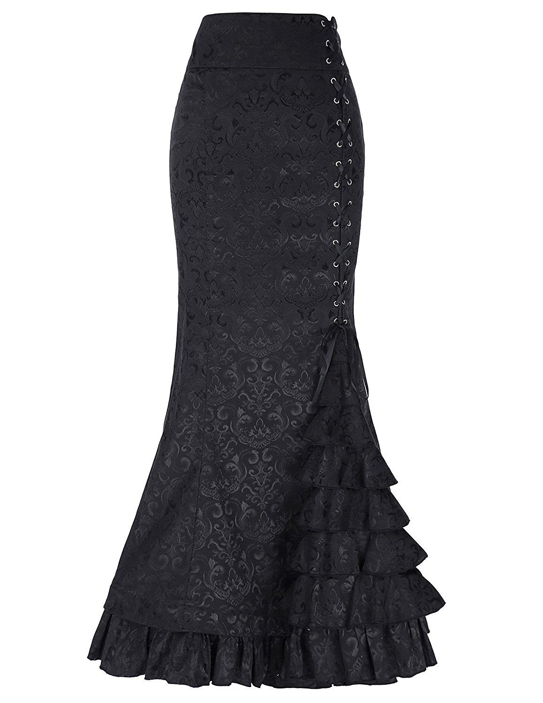 BLESSUME Victorian Corset Skirt High Low Punk Skirt Gothic Women Costume