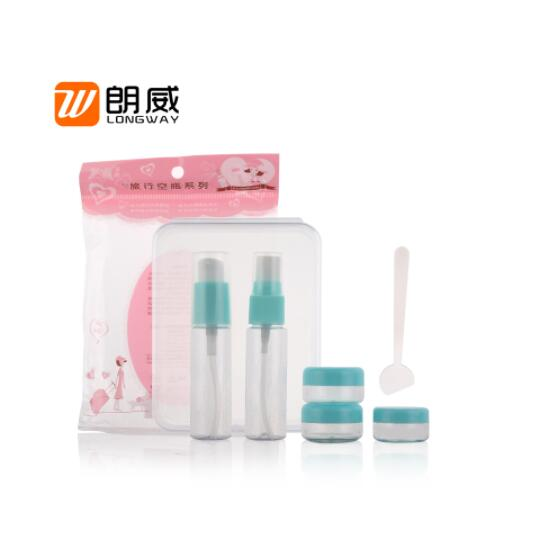 Wholesale Alibaba 6pcs personal care toilet cosmetic travel bottle set with facial cleaning puff