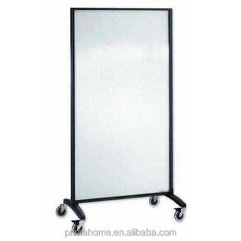 Frosted Tempered Gl Room Divider With Wheels