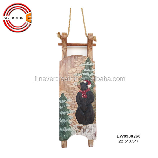 hand carving wooden sleigh decoration