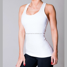 Fitness bianco Posteriore Scollata Donne PALESTRA Yoga Canotte Dry Fit Camicie