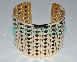 gold plated spike cuff bangle jewelry