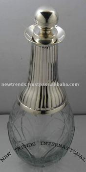 Glass Bottle crystal bottle, silver plated