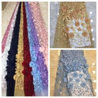 african beaded bridal embroidery dress fabric french tulle 3d flower net lace fabric