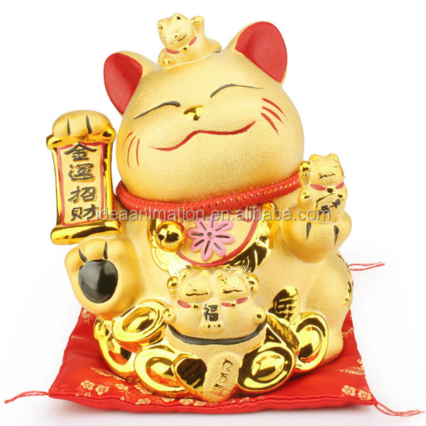 So fat metal pvc fortune cat coin bank lovely cartoon golden Maneki Neko house money box
