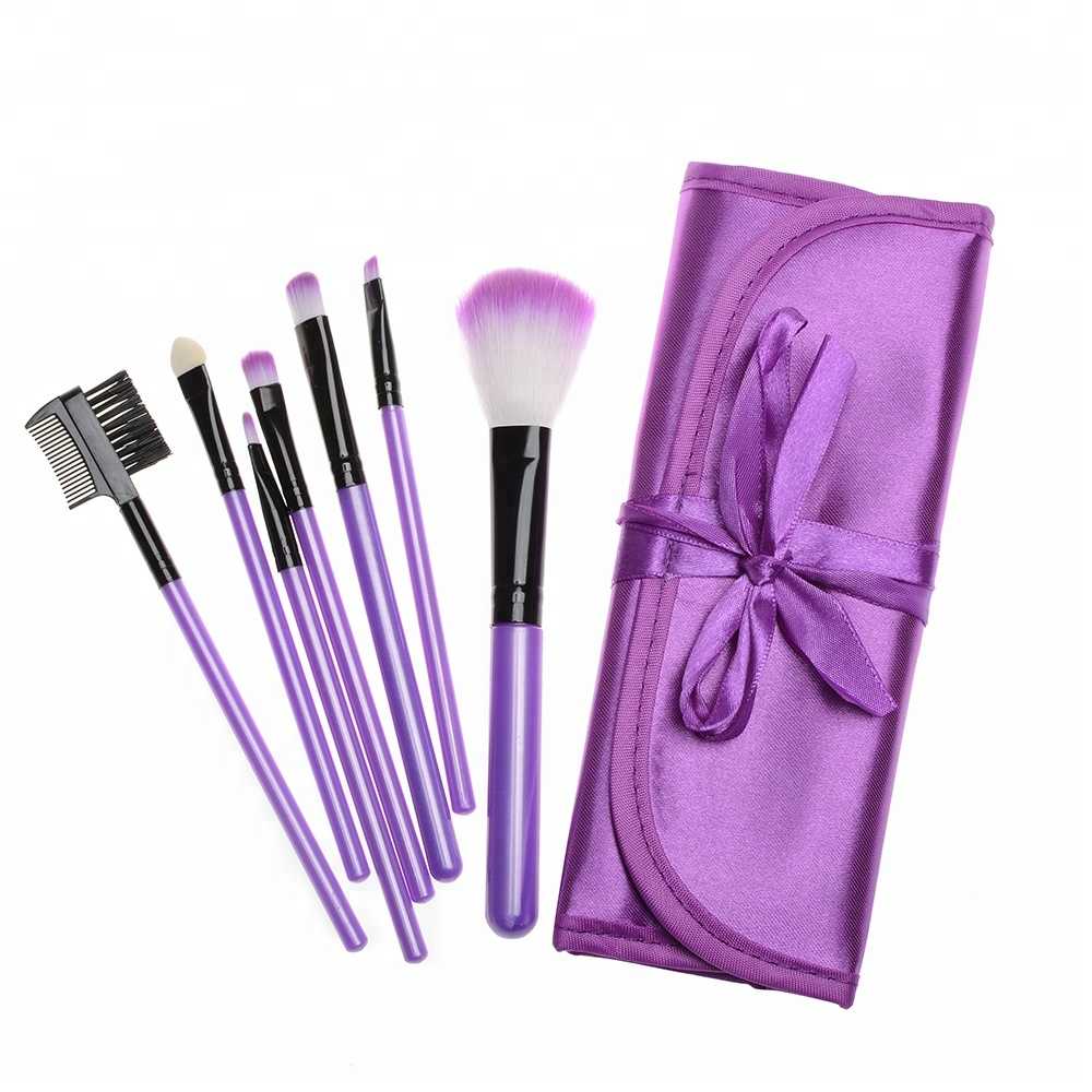 Paars Gekleurde Make Up Borstels Hoge Kwaliteit Beste Professionele Make Up Borstels Set Kit