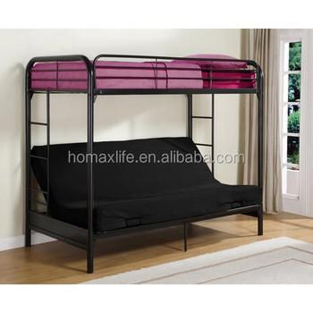Twin Size Black Futon Bunk Bed Metal Frame Metal Sofa Bunk Bed