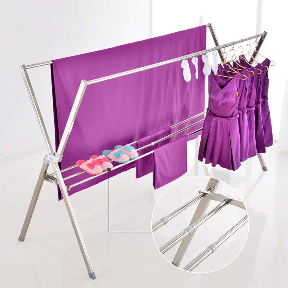 SKKGN Clothes rack, Retractable and foldable Laundry Dryer Stainless steel Indoor outdoor Quilt drying clothes drying rack-silver