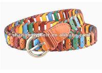 colorful handmade leather bohemian cowboy belt YJ-HY0098