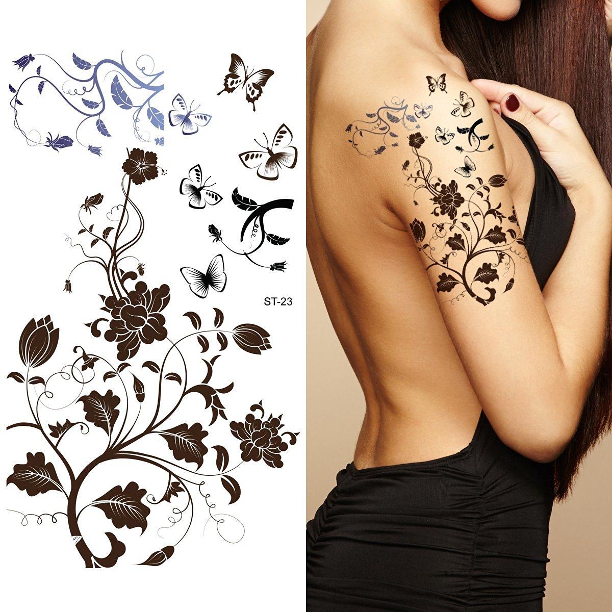 2160da201 Get Quotations · Supperb Temporary Tattoos - Black Tribal Fall Flower  Tattoos