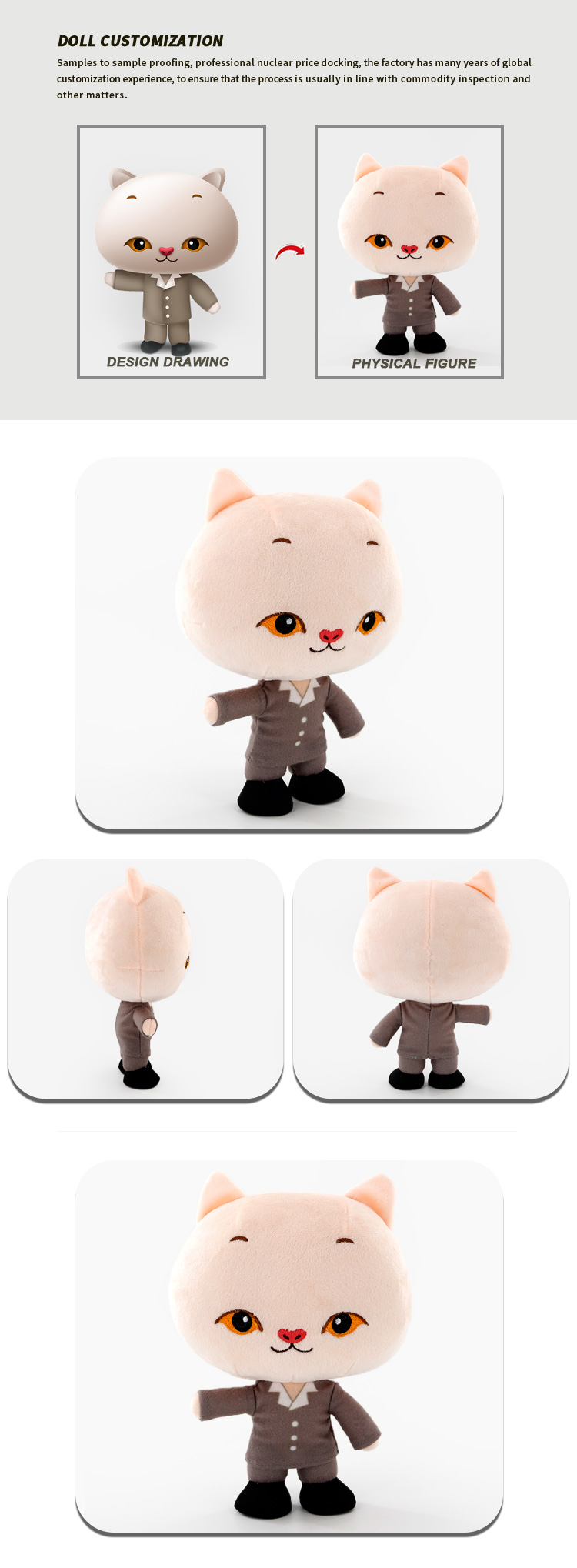 Original Design Kids Toys Stuffed Anime Cat Toy Custom Soft Cat Design Your Own Plush Toy