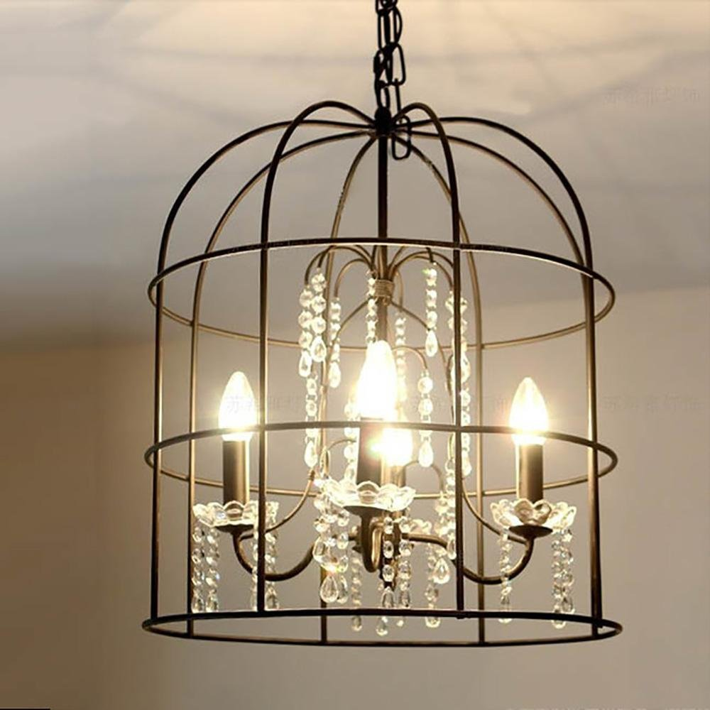American country bird cage vintage iron chandelier Crystal lamp beautiful creative living room dining room Hotel Villa lights