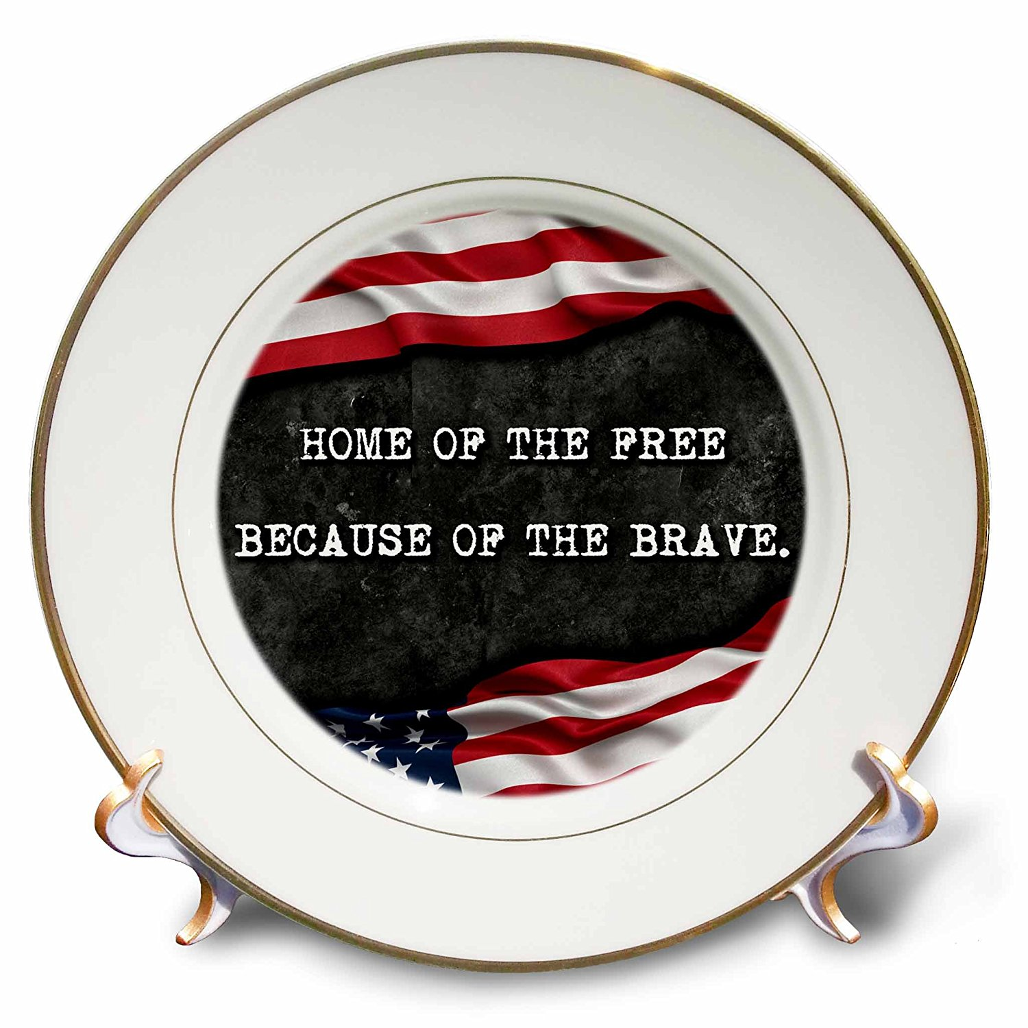 Carsten Reisinger - Illustrations - Home of the free because of the brave. Patriotic quote. - 8 inch Porcelain Plate (cp_237417_1)