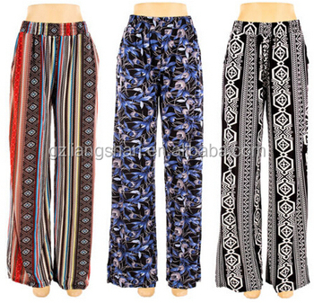 c65d6f61a7 OEM Wholesale New Womens Plus Size Printed Wide Leg Palazzo Pants Stretch  Boho Gaucho Pants 1X