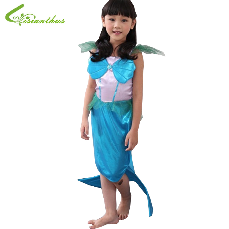 Girls Halloween Costumes Little Mermaid font b Dress b font Cosplay Stage Wear Clothing Kids Party