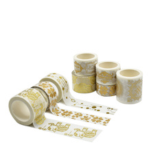 Free Samples Hot Sale Christmas Decorative Funny Gold Foil Scrapbooking Masking Adhesive Packing Skinny Washi Paper Tape