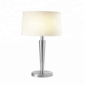 Hot Selling Brushed Nickel Table Lamp Bedside Table Lamp with Fabric Shades