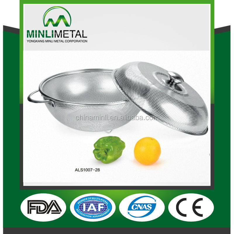 stainless steel kitchen fruit basket & colander type perforated stainless steel basket with cover