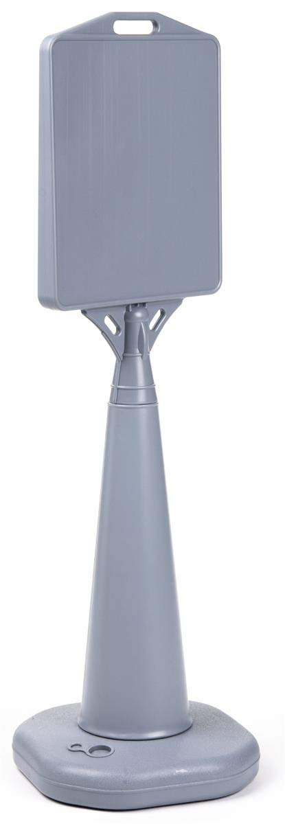 Displays2go Heavy-Duty Grey Plastic Outdoor Cone Sign Holds 13 x 15-Inch Signs, Double-Sided, Weighted Base, 14-1/2 x 47 x 14-1/2-Inch (WBSTND47GR)