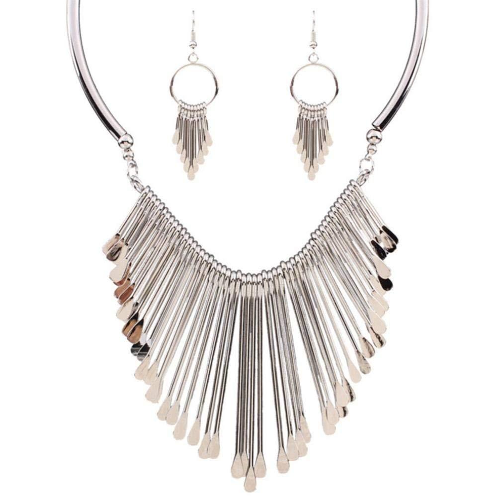 BEUU Jump River Prices Multi-Layered Wild Tassel Necklace Fashion Charm Rhinestone Statement Bib Chain Choker Pendant Jewelry Holder (Silver)