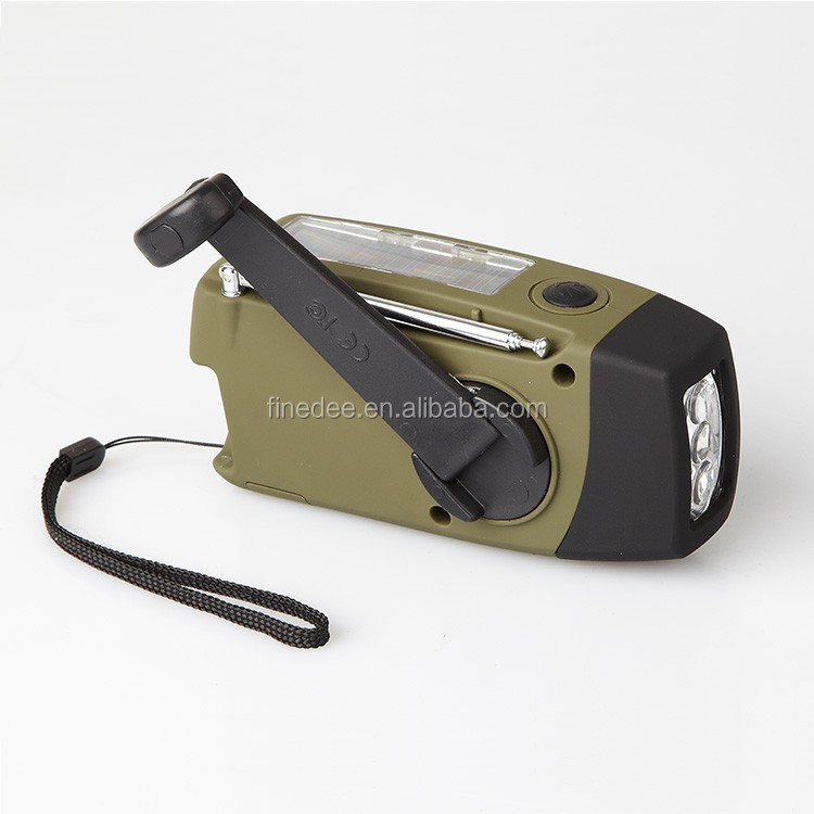 FineDEE Japan or Others Earthquake Disaster Survival Rescue Hand Crank Radio Solar Powered Flashlight