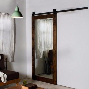 Sliding mirror barn door for hotel bathroom and wardrobe