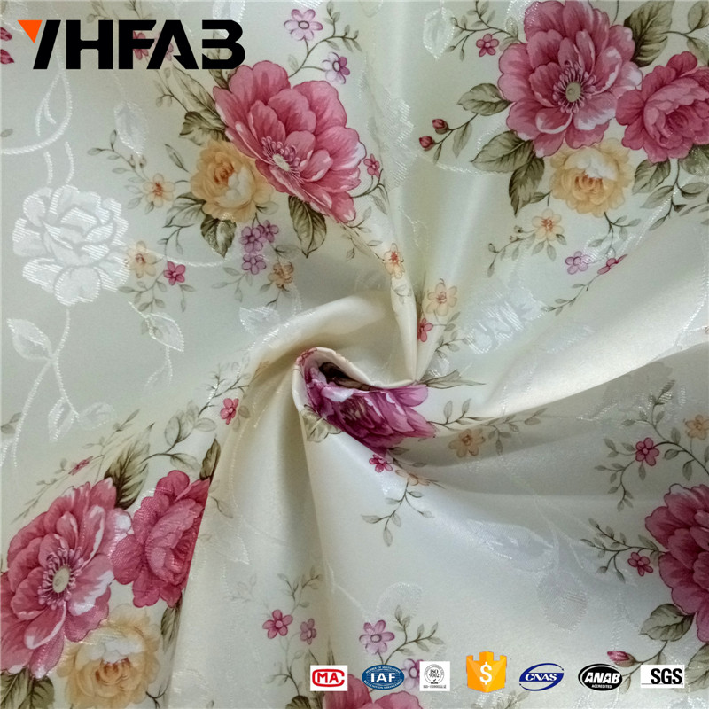 Polyester hometextile border printing rose flower satin fabric