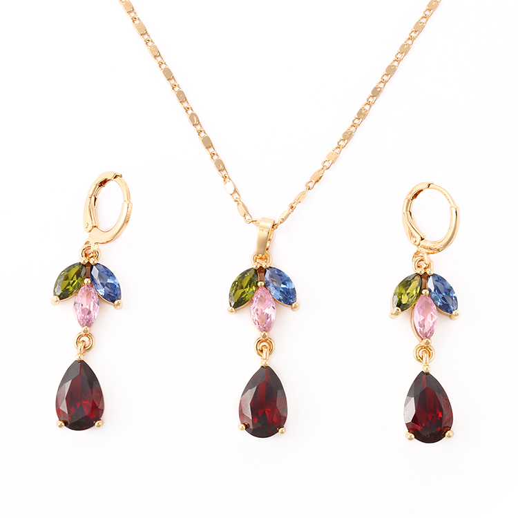 HD Wholesale 2018 Fashion Design Copper 18K Gold Jewelry Sets for Women Cubic Zircon Jewelry Sets