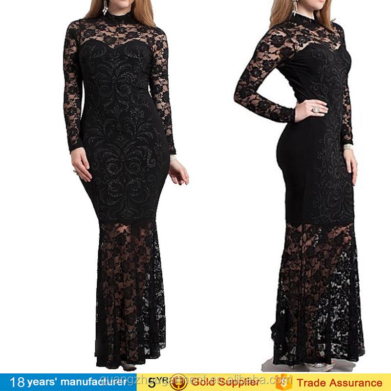 2015 Xxxl 5xl 6xl Hourglass Black Lace Mermaid Evening Party Maxi