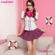 Cheap Shipping Fee Pink Lattice Two Pieces Sexy School Teacher Costume