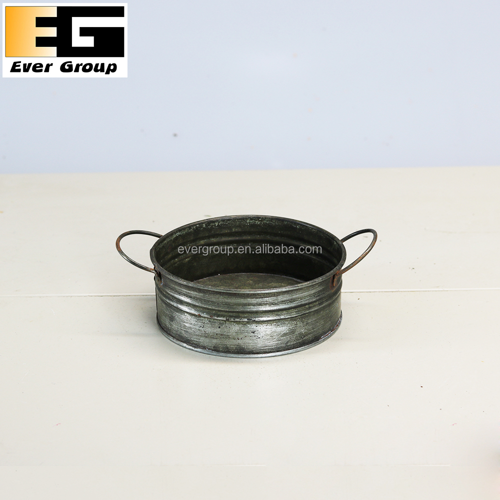 Round Galvanized Metal Garden Tray with Handles