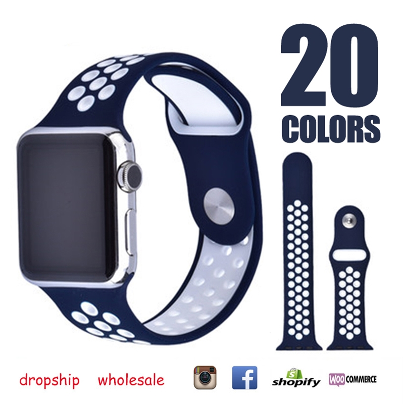 Dropship Silicone Colorful Band With Connection Adapter for Apple Watches 38mm 42mm