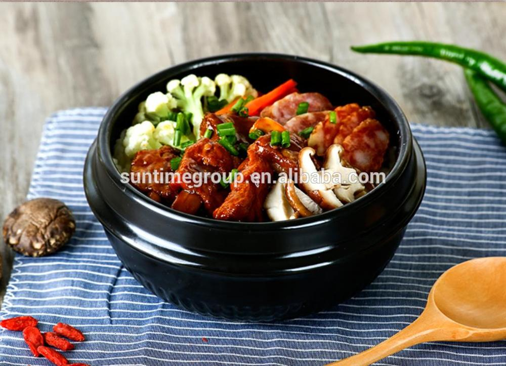 Hot sale black earthenware bowl for bibimbap with trivet