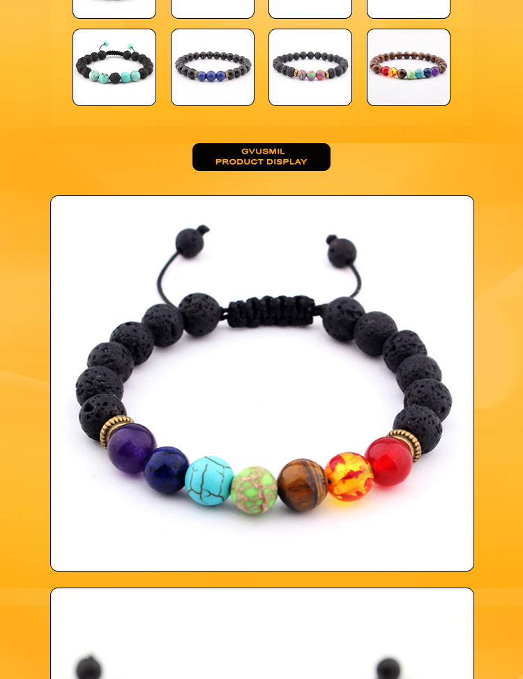 Fashion jewelry 7 chakra lava natural stone bead hand bracelet volcanic stone men bracelet