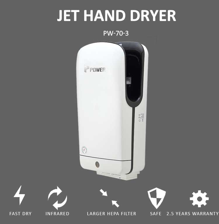 China manufacturer automatic jet hand dryer with larger HEPA filter fast high speed