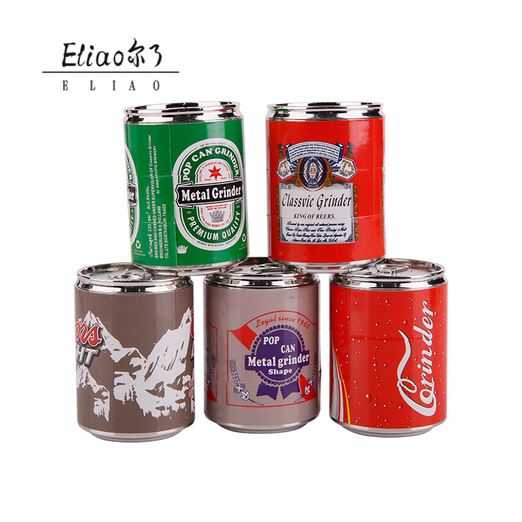 Erliao Hot Sale Tobacco Grinder Cans modeling 4 layer Metal Herb Smoking Pipes Grinders Free Shipping