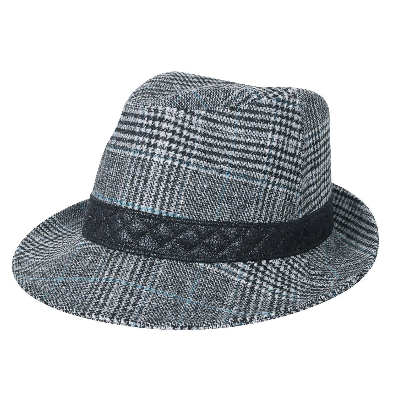 b37e6e0f4a996 Get Quotations · ililily Big Size Checkered Wool Fedora Faux Leather Band  Panama Hat