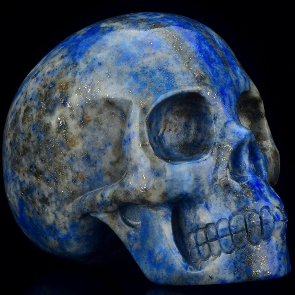Hot sale new arrive natural carved 3 inch gemstone skull lapis skull for gift