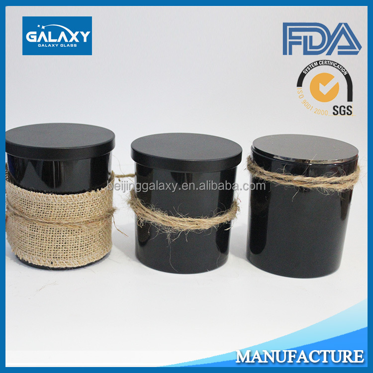 black glass candle container with lid votive wholesale