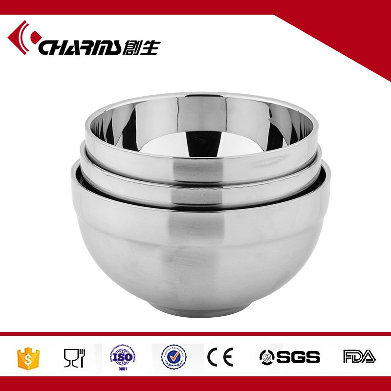 Mirror Polished Stainless Steel Serving Bowl , Kids Double Wall Stainless Steel Bowl