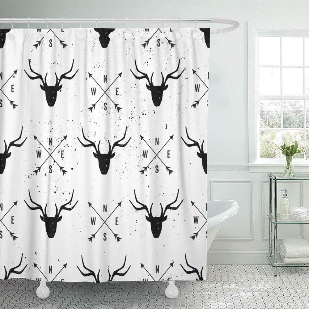 Emvency Shower Curtain With Hook Polyester Fabric Graphic Deer Head and Arrows in Black and White Moose Wildlife Antler Reindeer West Waterproof Adjustable Hook Sets 72 x 72 For Bathroom