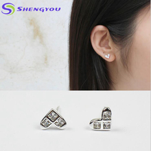 High Quality Heart Shaped Diamond Jewelry Stud Earrings 925 Sterling Silver