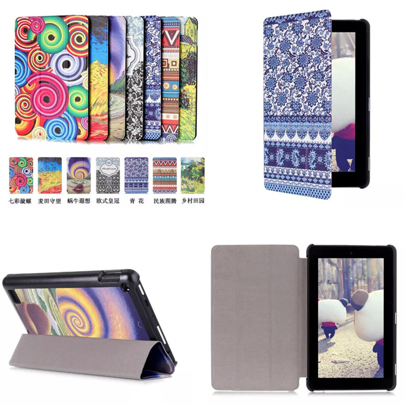 """CY Luxury PU leather Colorful Magnet case Stand cover for Amazon kindle Fire 7 (new 2015 version) 7"""" tablet"""