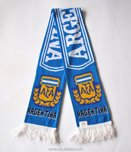 Wholesale Knitted Pattern Standard Size Knitted Acrylic Argentina Soccer Scarf