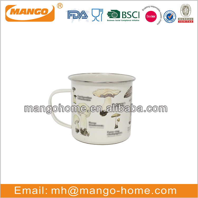 Mushroom powder coating camping metal tea cup latte cup personal tea coffee mug