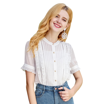 2018 summer boutique stand collar striped lotus leaf sleeve wild chiffon shirt women blouse