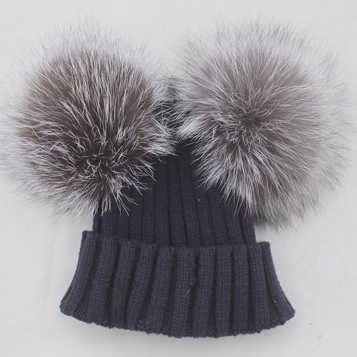 c6d042ffc9c Myfur Black Double Silver Fox Fur Pom Puff Knitted Funny Cute Beanie Hats