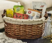 CAC Fair Woven Rectangular Home and Hotel Wicker Storage Basket Willow Hamper Basket With flax Liner